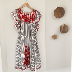 Kate Spade Broome St. Stripe embroidered dress